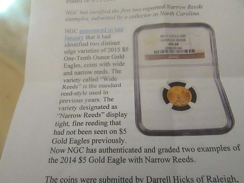 {RARE FIND}- 2014 1/10 oz gold eagle narrow reeds variety