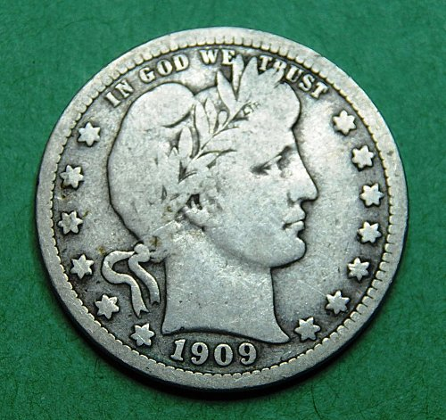 1909 P Barber Quarter Very Good  Coin   b84