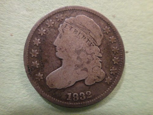 1832 Capped Bust Dime Very Good-8 Totally Original Old Silver Tone . . .