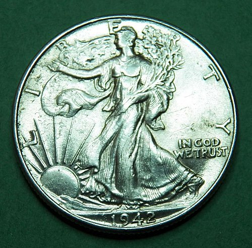 1942 P Walking Liberty Half Dollar Almost Uncirculated Coin   c03