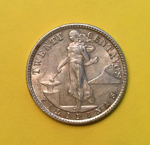 1944 D 20 Centavos US Administration of Filipinas Nice Luster and Toning high re
