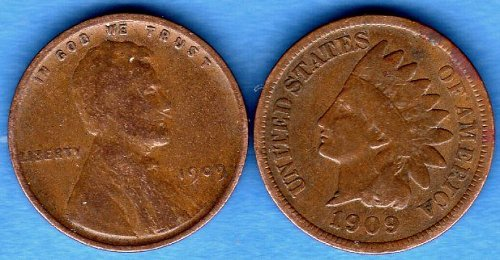 1909 Indian Head Penny and 1909 P Linco;n Head Penny Genuine Natural US Coins Ni