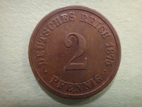 GERMANY 2 Pfennings 1875-G Very Fine-30 KM#2 Nice Original Dark Chocolate Brown!