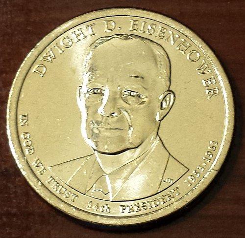 2015-D Eisenhower Golden Presidential Dollar - From Mint Roll (5695)