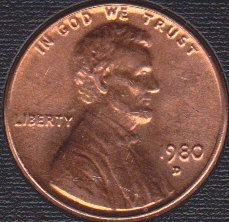 1980 D Lincoln Memorial Cent