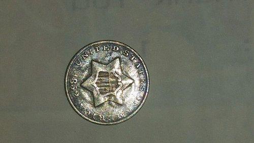 1852 3c Silver Clashed Dies Obv & Rev