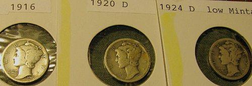 1916,1920D, & 1924 D mercury Dimes-3 DAY $ALE!!  A-11