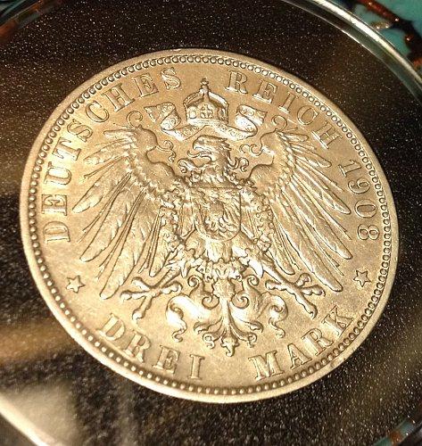 1908 D - Drei (3) Mark - Germany - 1st Year / Key Date - RARE - Bavaria Empire