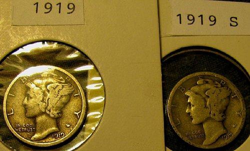 1919 P & 1919 S silver mercury Dimes  plus 2 more FREE Mercuries $ave 12%   !!