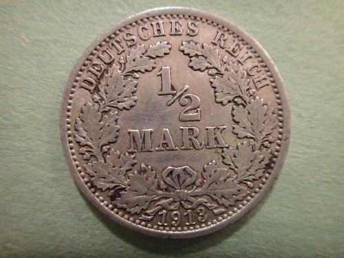 GERMANY 1/2 Mark 1913-A Extra Fine-40 90% SILVER 0.0801 ASW KM#17