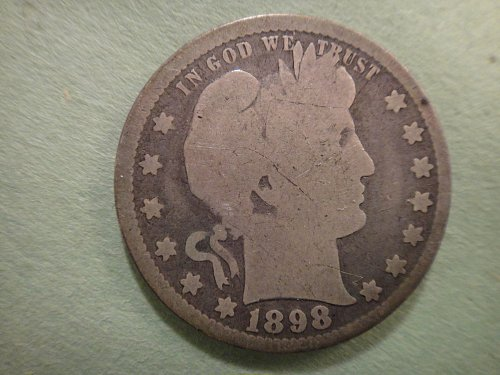 1898 Barber Quarter Good-4 Nice Light Grey Coin!