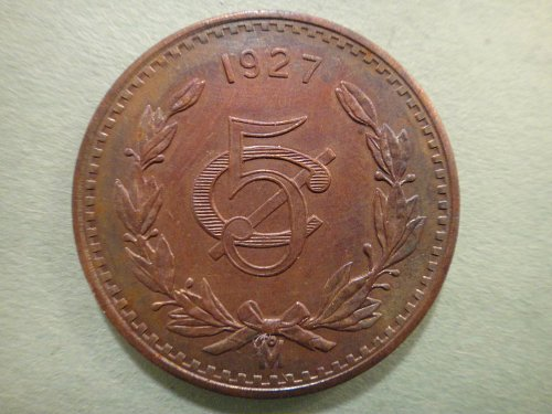 MEXICO 5 Centavos 1927 AU-53 KM#422 Very Nice Coin For Grade!
