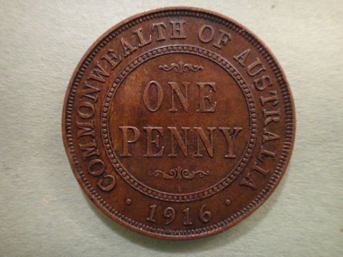 AUSTRALIA Penny 1916-C Extra Fine-40 KM#23 Nice Chocolate Brown Color!