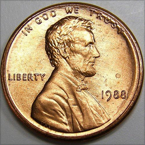 1988 P Lincoln Cent #2 Partial Collar Error