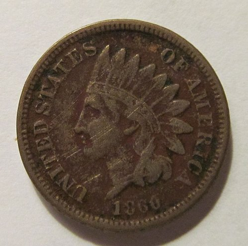 1860 Indian Head cent in VG condition
