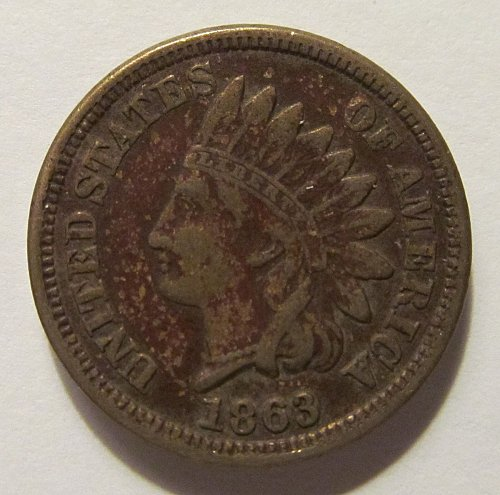 1863 Indian Head cent in F condition