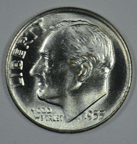 1955 D Roosevelt BU Silver Dimes