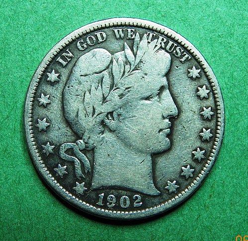 1902 P Barber Half Dollar Very Good + Coin   c33