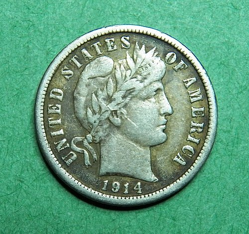1914 D Barber Dime Very Fine Coin   c66