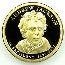 2008 S  PROOF  ANDREW JACKSON GOLDEN DOLLAR
