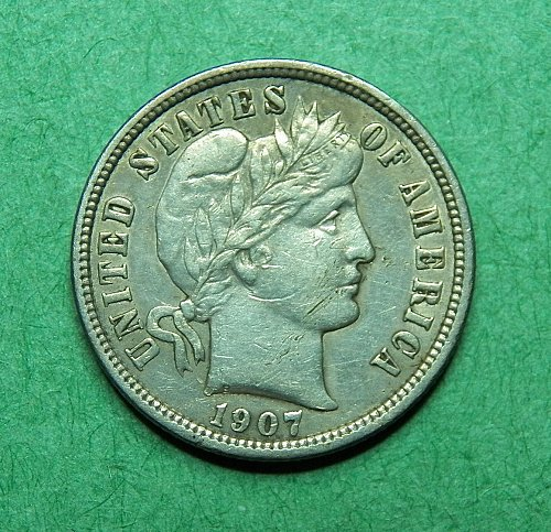 1907 P Barber Dime Extra Fine Coin   c69