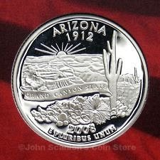 2008 S  SILVER PROOF ARIZONA STATE QUARTER
