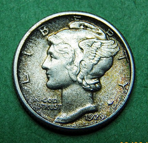 1929 P Mercury Dime Almost Uncirculated Coin   c94