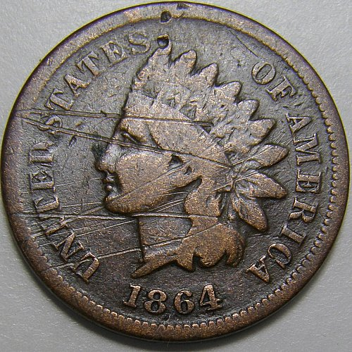 1864L  Indian Head Cent #3 Pointed Bust