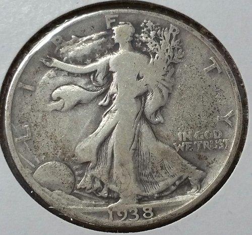 1938 D Walking Liberty Half Dollar - VG