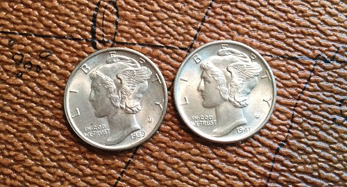 Lot of 2 BU Uncirculated Mercury Dimes (1939 D & 1941 P) FSB