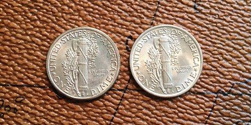 Lot of 2 BU Uncirculated Mercury Dimes (1939 D & 1941 P) FSB