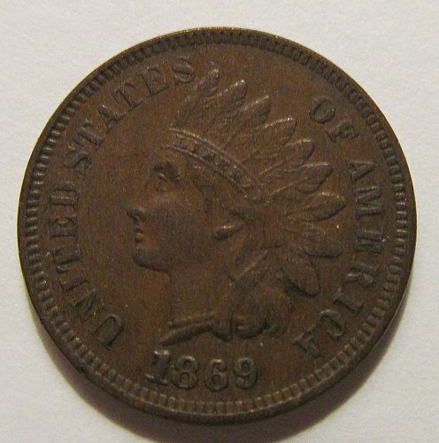 1869 Indian Head cent in fine condition