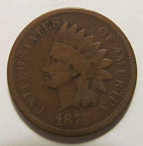1874 Indian Head cent in good condition