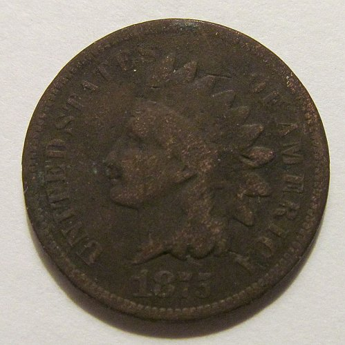 1875 Indian Head cent in good condition