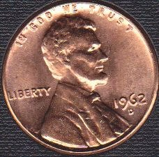 1962 D Lincoln Memorial Cent