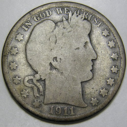 1911 D Barber Half Dollar