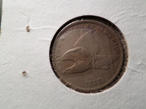 1858 P Flying Eagle Cent Small Cents: Large Letters D1