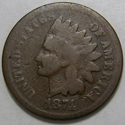 1874 P Indian Head Cent #8