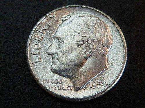 1954 P Roosevelt BU Silver Dimes