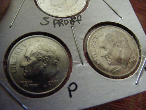 2001 S PROOF with P&D Roosevelt Dimes THREE COIN SET