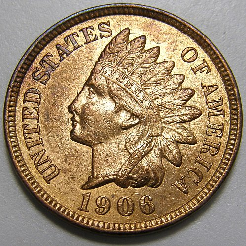 1906 Indian Head Cent #17 Strong Obv.- Rev. Die Clash