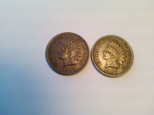 2 -- 1907 INDIAN HEAD CENTS IN FINE