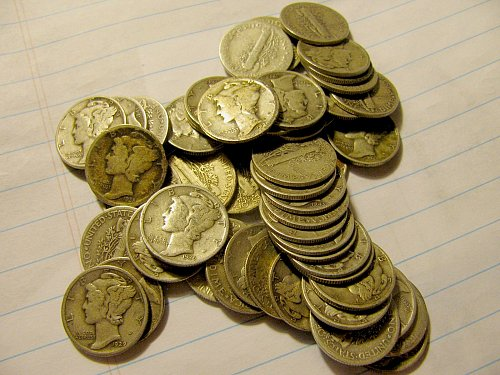 Full roll #B 47 SILVER Mercury Dimes  mixed dates F to EF+