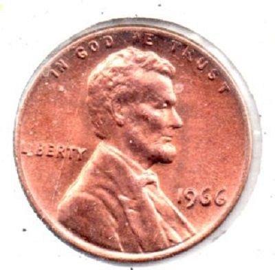 1966 p Unc Lincoln Memorial Pennie