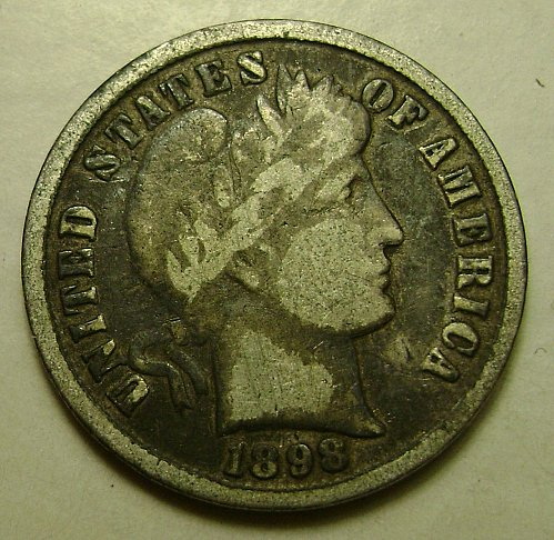 1898 VG Very Good Barber Dime Free Shipping