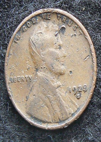 1928 S Lincoln Wheat Cent (F-12) damaged