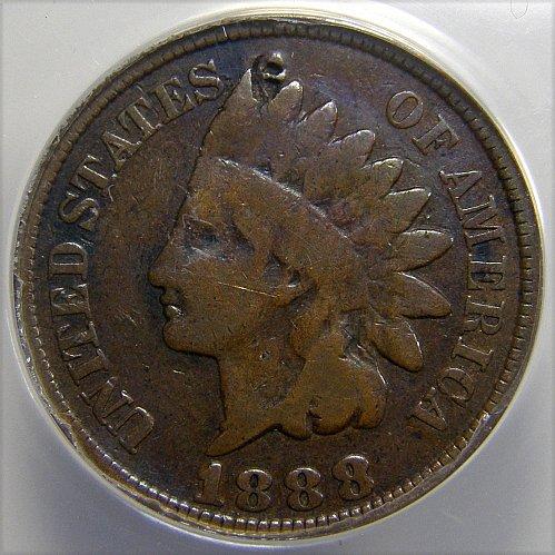 1888 Indian Head Cent 8/7 Snow 2 FS-302