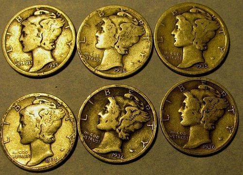 1935 & 1936 P,D ,& S  mercury Dimes Semi Keys! $1.32 each///  A-05