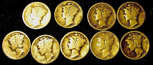 1920,23,23S,24,24D,25,25D,26, 26D Silver Mercury Dimes tot. 9;  A-04