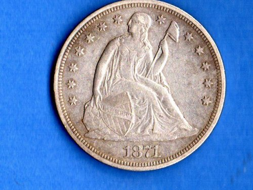 1871 Seated Liberty Silver  Dollar Genuine Natural US Coins